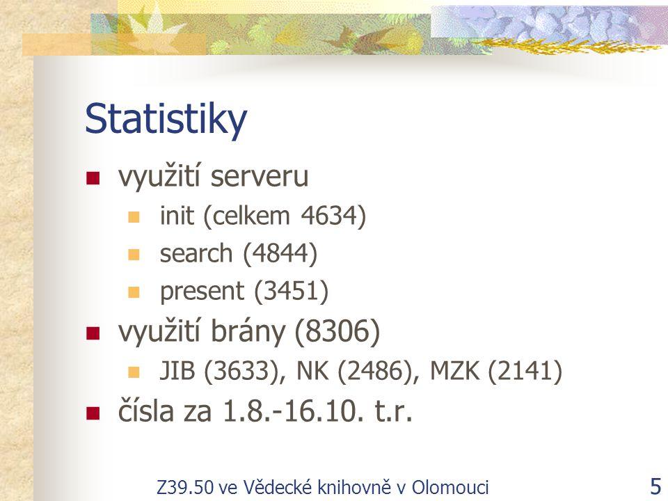 Z39.50 ve Vědecké knihovně v Olomouci 5 Statistiky využití serveru init (celkem 4634) search (4844) present (3451) využití brány (8306) JIB (3633), NK (2486), MZK (2141) čísla za 1.8.-16.10.
