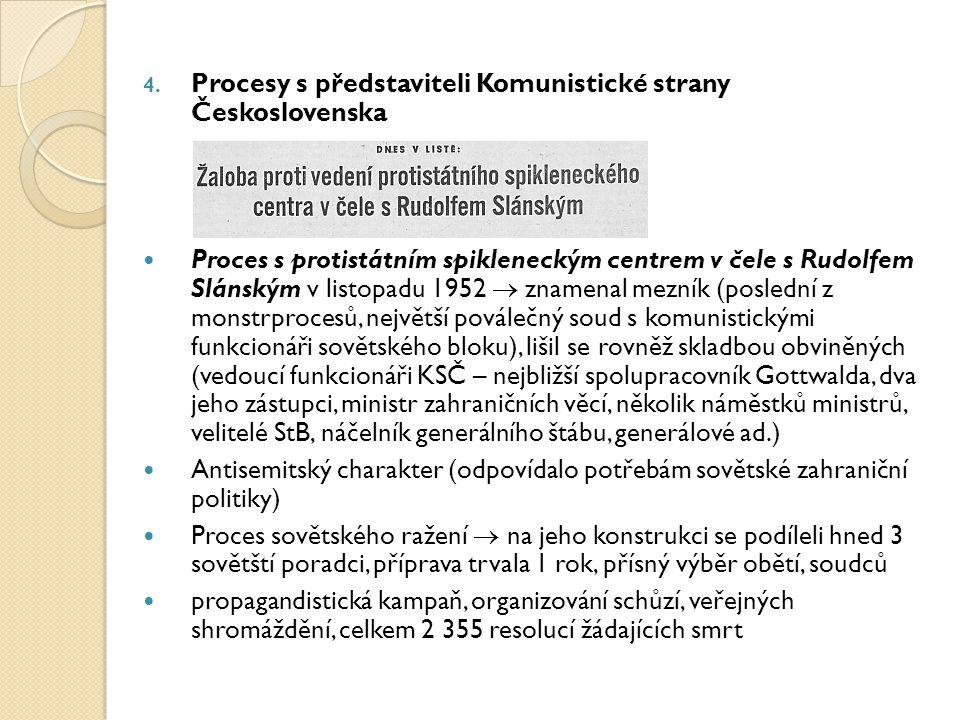 4. Procesy s představiteli Komunistické strany Československa Proces s protistátním spikleneckým centrem v čele s Rudolfem Slánským v listopadu 1952 