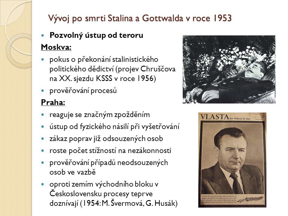 Vývoj po smrti Stalina a Gottwalda v roce 1953 Pozvolný ústup od teroru Moskva: pokus o překonání stalinistického politického dědictví (projev Chruščo