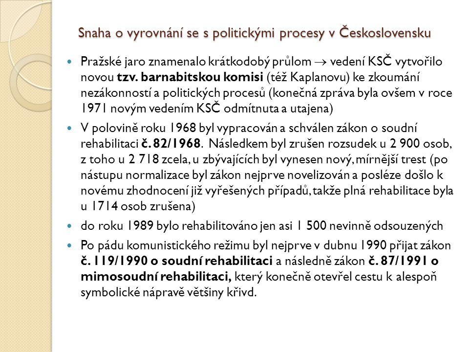 Snaha o vyrovnání se s politickými procesy v Československu Pražské jaro znamenalo krátkodobý průlom  vedení KSČ vytvořilo novou tzv. barnabitskou ko