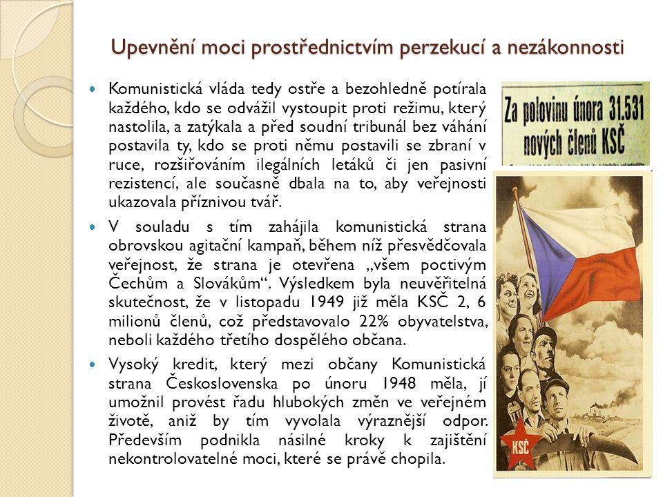 Upevnění moci prostřednictvím perzekucí a nezákonnosti Komunistická vláda tedy ostře a bezohledně potírala každého, kdo se odvážil vystoupit proti rež