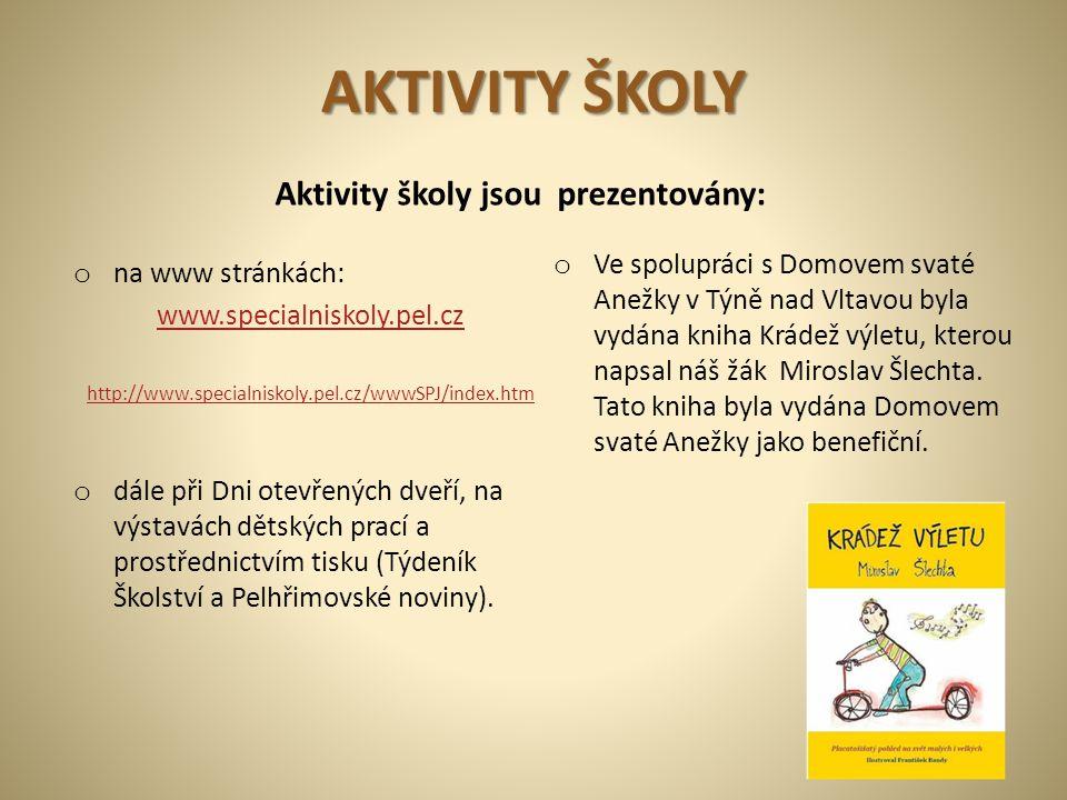 AKTIVITY ŠKOLY o na www stránkách: www.specialniskoly.pel.cz http://www.specialniskoly.pel.cz/wwwSPJ/index.htm o dále při Dni otevřených dveří, na výs