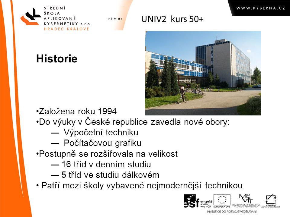 UNIV2 kurs 50+ Historie Založena roku 1994 Do výuky v České republice zavedla nové obory: ― Výpočetní techniku ― Počítačovou grafiku Postupně se rozšiřovala na velikost ―16 tříd v denním studiu ―5 tříd ve studiu dálkovém Patří mezi školy vybavené nejmodernější technikou