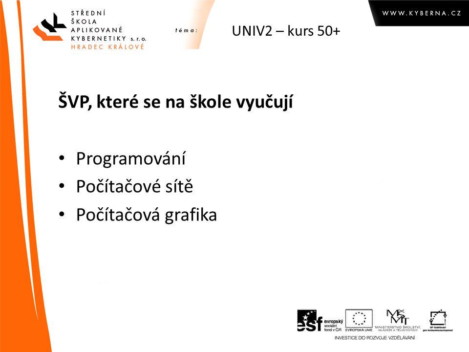 UNIV2 – kurs 50+ ŠVP, které se na škole vyučují Programování Počítačové sítě Počítačová grafika