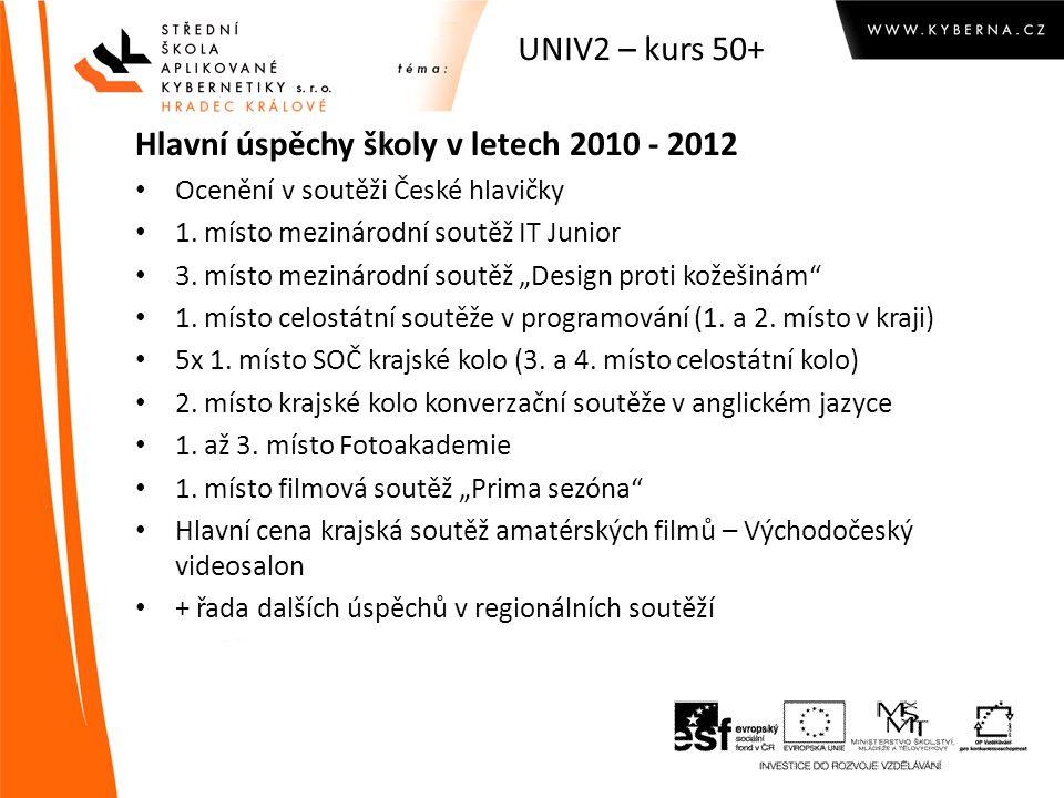 UNIV2 kurs 50+ Vzdělávání dospělých - zkušenosti ve škole: Dálkové studium Vzdělávání učitelů (SIPVZ) UNIV2 – vytvořeny 3 programy  Webdesign  Základy počítačové gramotnosti (50+)  Správce sítí pro malé a střední organizace