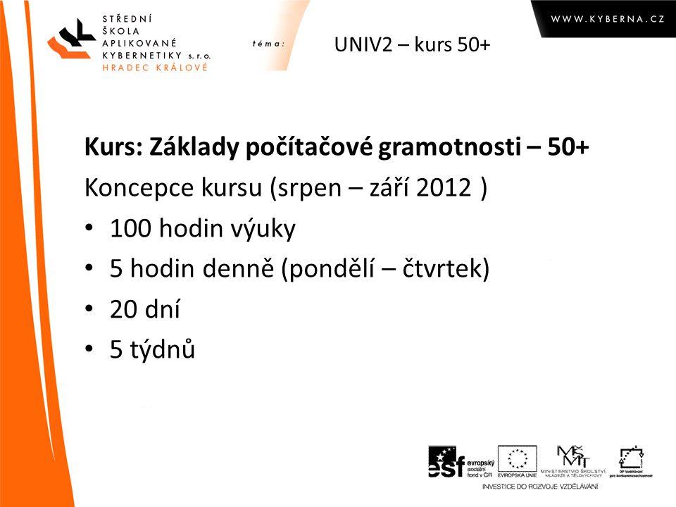 UNIV2 – kurs 50+ Kurs: Základy počítačové gramotnosti – 50+ Koncepce kursu (srpen – září 2012 ) 100 hodin výuky 5 hodin denně (pondělí – čtvrtek) 20 dní 5 týdnů