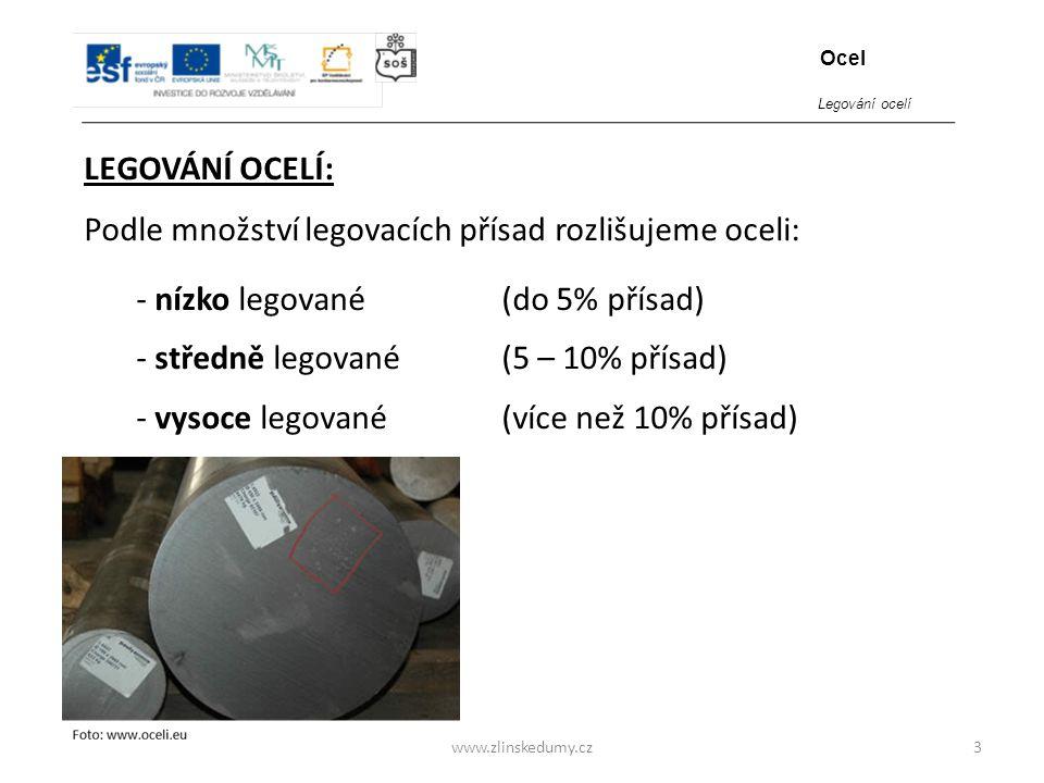 www.zlinskedumy.cz LEGOVÁNÍ OCELÍ: 3 Podle množství legovacích přísad rozlišujeme oceli: - nízko legované (do 5% přísad) - středně legované (5 – 10% p