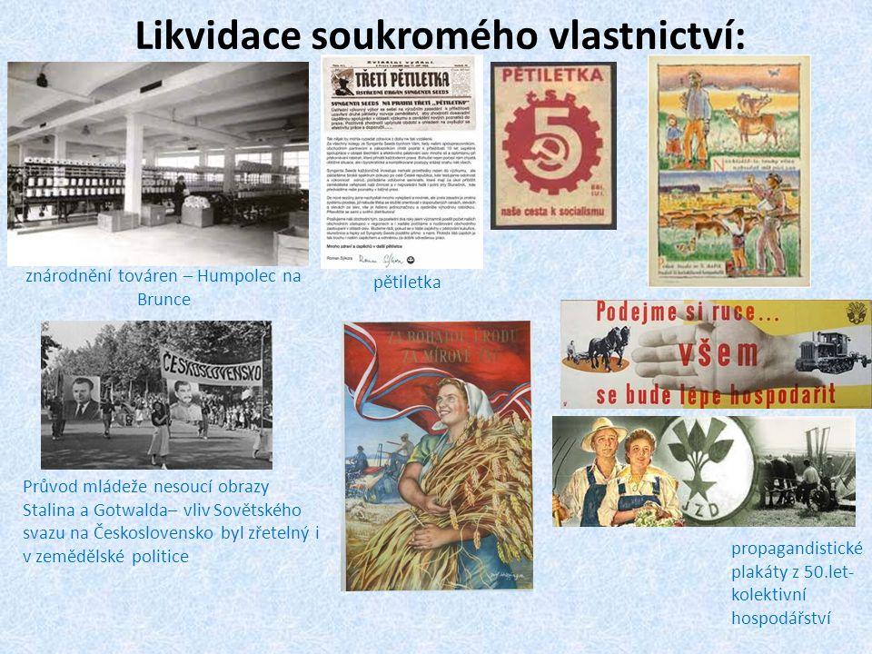 Likvidace soukromého vlastnictví: znárodnění továren – Humpolec na Brunce pětiletka Průvod mládeže nesoucí obrazy Stalina a Gotwalda– vliv Sovětského