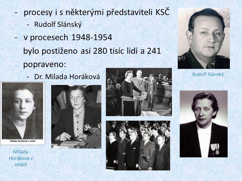 -procesy i s některými představiteli KSČ -Rudolf Slánský -v procesech 1948-1954 bylo postiženo asi 280 tisíc lidí a 241 popraveno: -Dr. Milada Horákov
