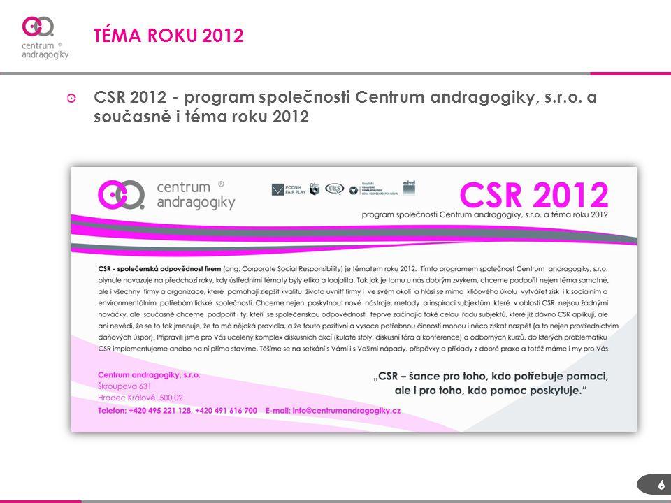 CSR 2012 - program společnosti Centrum andragogiky, s.r.o. a současně i téma roku 2012 TÉMA ROKU 2012