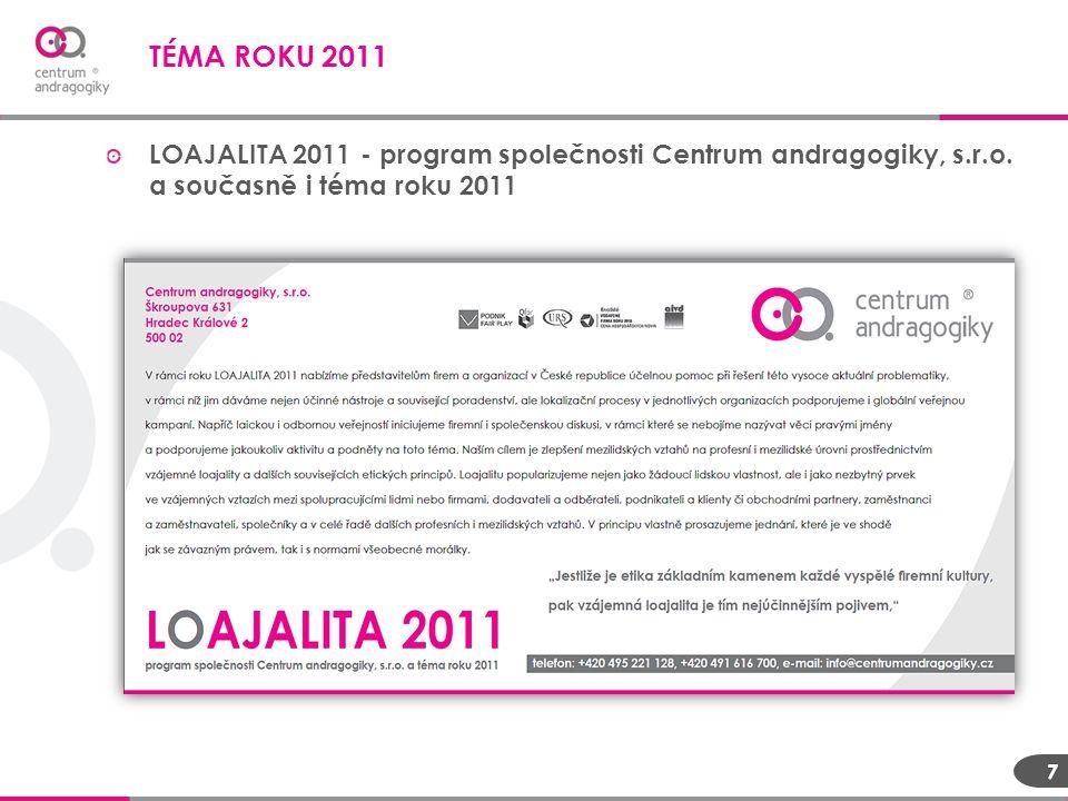 LOAJALITA 2011 - program společnosti Centrum andragogiky, s.r.o. a současně i téma roku 2011 TÉMA ROKU 2011