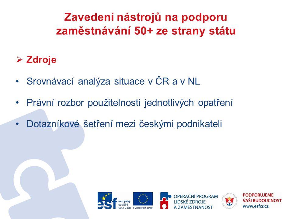  Zdroje Srovnávací analýza situace v ČR a v NL Právní rozbor použitelnosti jednotlivých opatření Dotazníkové šetření mezi českými podnikateli