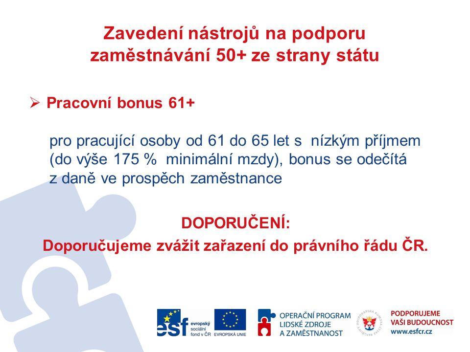  Pracovní bonus 61+ pro pracující osoby od 61 do 65 let s nízkým příjmem (do výše 175 % minimální mzdy), bonus se odečítá z daně ve prospěch zaměstnance DOPORUČENÍ: Doporučujeme zvážit zařazení do právního řádu ČR.