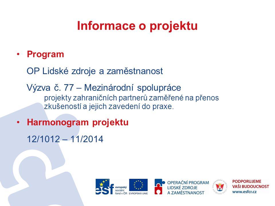 Informace o projektu Program OP Lidské zdroje a zaměstnanost Výzva č.