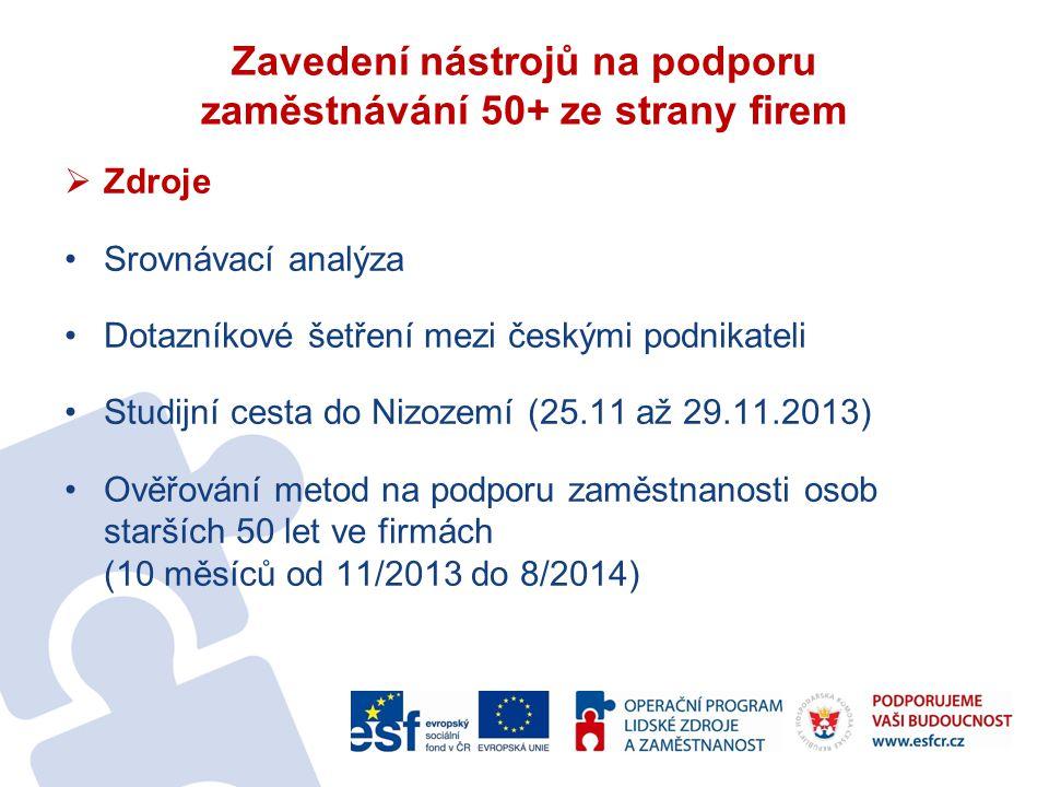 Zavedení nástrojů na podporu zaměstnávání 50+ ze strany firem  Zdroje Srovnávací analýza Dotazníkové šetření mezi českými podnikateli Studijní cesta do Nizozemí (25.11 až 29.11.2013) Ověřování metod na podporu zaměstnanosti osob starších 50 let ve firmách (10 měsíců od 11/2013 do 8/2014)