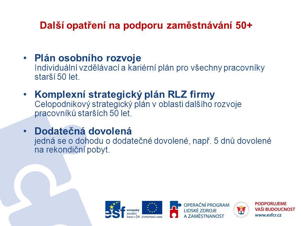 Další opatření na podporu zaměstnávání 50+ Plán osobního rozvoje Individuální vzdělávací a kariérní plán pro všechny pracovníky starší 50 let.