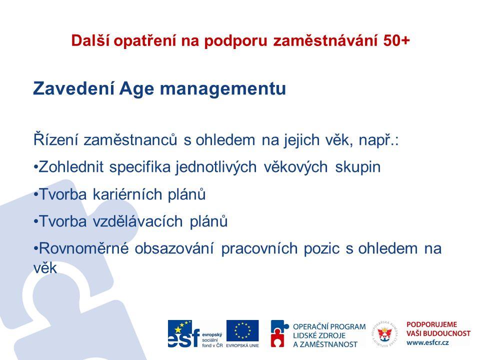 Další opatření na podporu zaměstnávání 50+ Zavedení Age managementu Řízení zaměstnanců s ohledem na jejich věk, např.: Zohlednit specifika jednotlivých věkových skupin Tvorba kariérních plánů Tvorba vzdělávacích plánů Rovnoměrné obsazování pracovních pozic s ohledem na věk