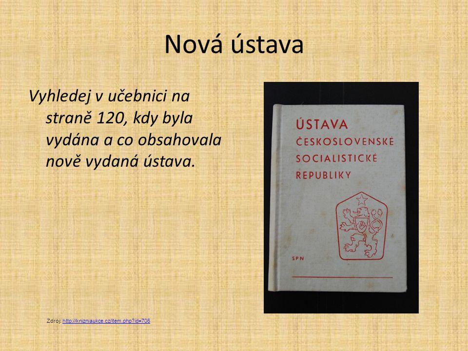 Nová ústava Vyhledej v učebnici na straně 120, kdy byla vydána a co obsahovala nově vydaná ústava. Zdroj: http://knizniaukce.cz/item.php?id=706http://