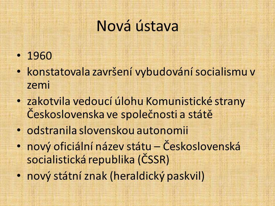 Nová ústava 1960 konstatovala završení vybudování socialismu v zemi zakotvila vedoucí úlohu Komunistické strany Československa ve společnosti a státě