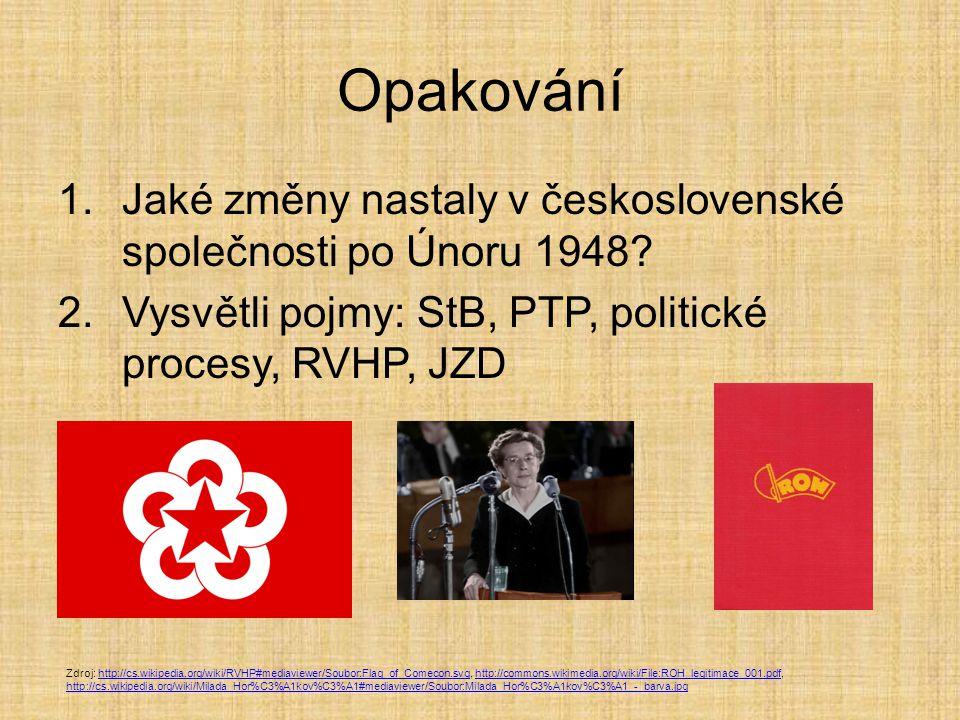 Opakování 1.Jaké změny nastaly v československé společnosti po Únoru 1948? 2.Vysvětli pojmy: StB, PTP, politické procesy, RVHP, JZD Zdroj: http://cs.w