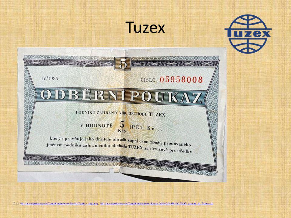 Tuzex Zdroj: http://cs.wikipedia.org/wiki/Tuzex#mediaviewer/Soubor:Tuzex_-_logo.svg, http://cs.wikipedia.org/wiki/Tuzex#mediaviewer/Soubor:Odb%C4%9Brn