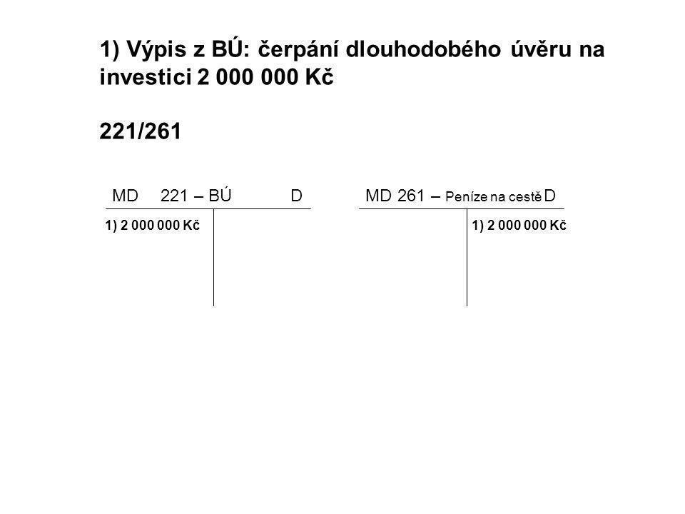 1) Výpis z BÚ: čerpání dlouhodobého úvěru na investici 2 000 000 Kč 221/261 MDD D 221 – BÚ261 – Peníze na cestě 1) 2 000 000 Kč