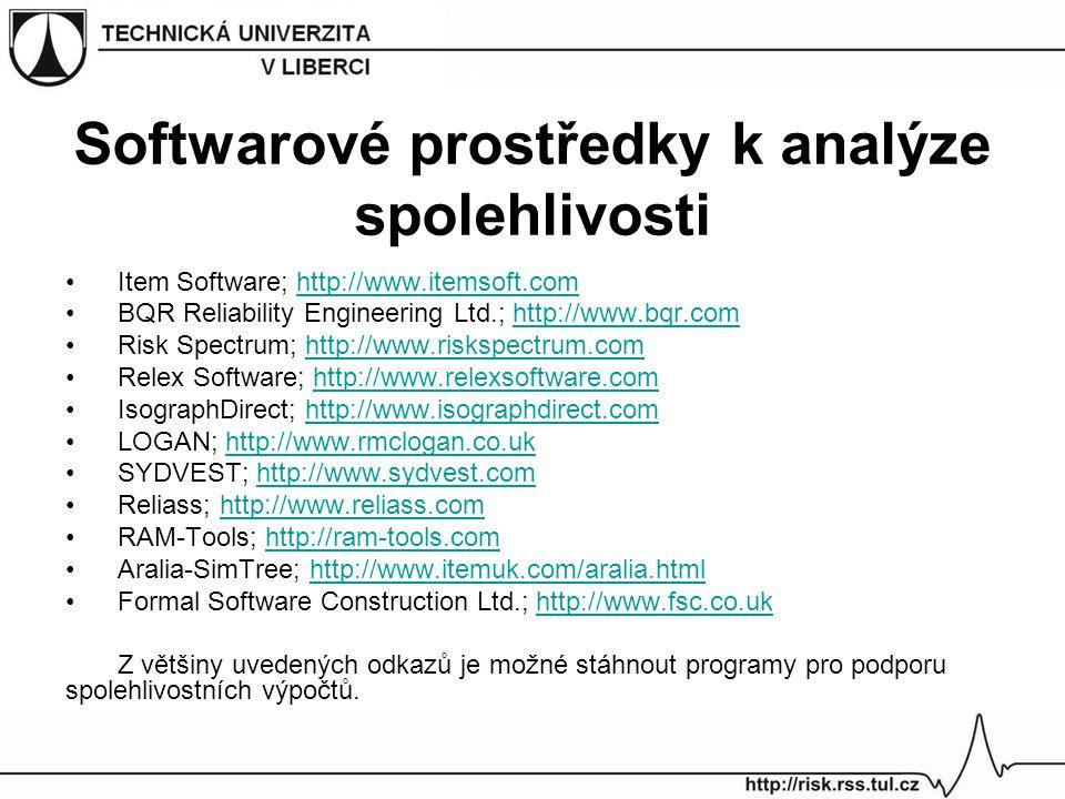 Softwarové prostředky k analýze spolehlivosti Item Software; http://www.itemsoft.comhttp://www.itemsoft.com BQR Reliability Engineering Ltd.; http://w