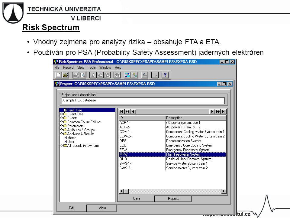 Risk Spectrum Vhodný zejména pro analýzy rizika – obsahuje FTA a ETA. Používán pro PSA (Probability Safety Assessment) jaderných elektráren