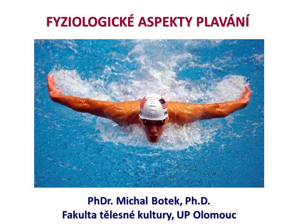 Základní charakteristika individuální sport ve vodním prostředí individuální sport ve vodním prostředí cyklická činnost v horizontální poloze = zlepšený žilní návrat cyklická činnost v horizontální poloze = zlepšený žilní návrat = plnění srdce = nižší SF než při chůzi nebo na kole (10 - 25%) = plnění srdce = nižší SF než při chůzi nebo na kole (10 - 25%) na sportovce ve vodě působí hydrostatický tlak (dýchání) na sportovce ve vodě působí hydrostatický tlak (dýchání) vztlak a zvýšená tepelná vodivost (termoregulace, teplota vody) vztlak a zvýšená tepelná vodivost (termoregulace, teplota vody) Diving reflex: bradykardie vyvolaná reflexně přes n.