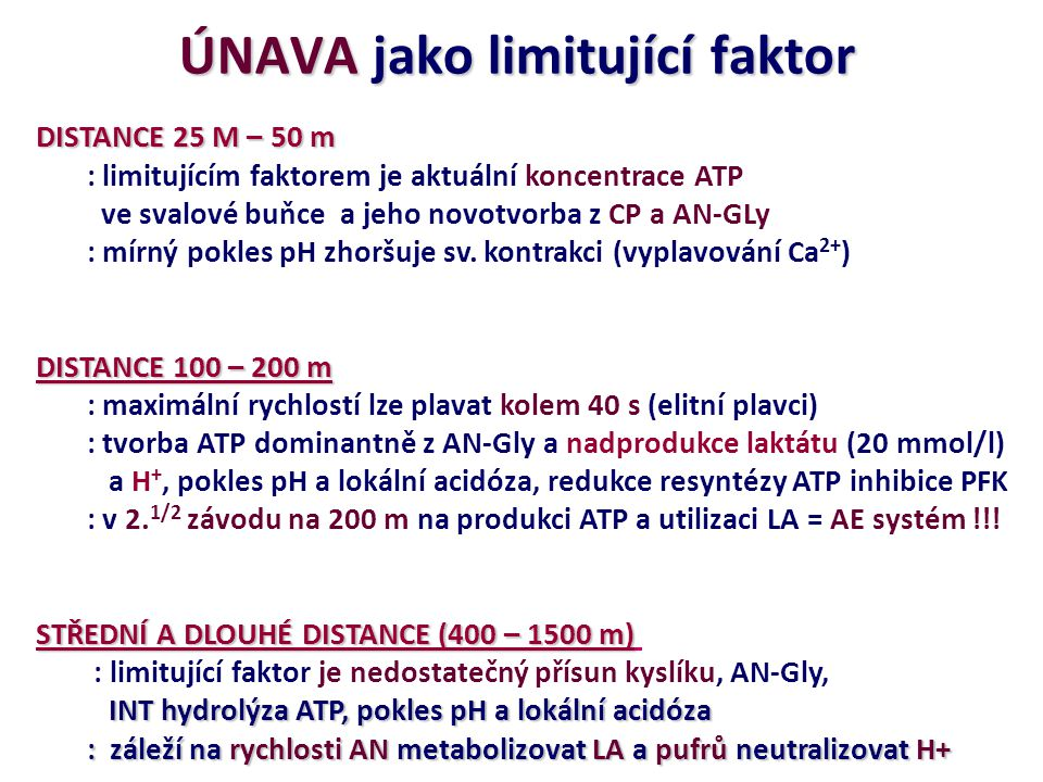 ÚNAVA jako limitující faktor DISTANCE 25 M – 50 m : limitujícím faktorem je aktuální koncentrace ATP ve svalové buňce a jeho novotvorba z CP a AN-GLy : mírný pokles pH zhoršuje sv.