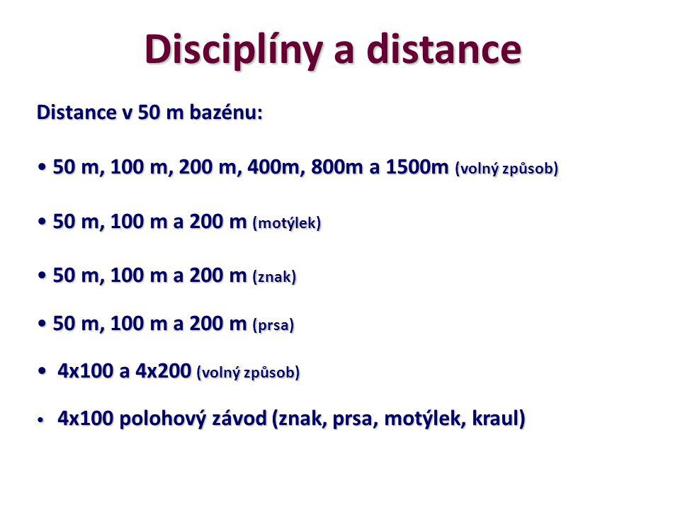 Disciplíny a distance Distance v 50 m bazénu: 50 m, 100 m, 200 m, 400m, 800m a 1500m (volný způsob) 50 m, 100 m, 200 m, 400m, 800m a 1500m (volný způs