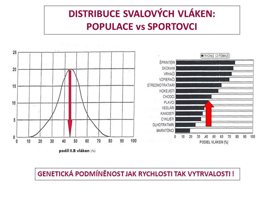 DISTRIBUCE SVALOVÝCH VLÁKEN: POPULACE vs SPORTOVCI podíl II.B vláken podíl II.B vláken (%) GENETICKÁ PODMÍNĚNOST JAK RYCHLOSTI TAK VYTRVALOSTI !