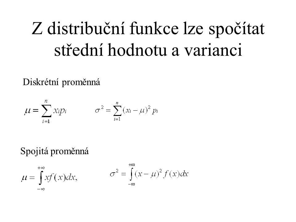 Z distribuční funkce lze spočítat střední hodnotu a varianci Diskrétní proměnná Spojitá proměnná