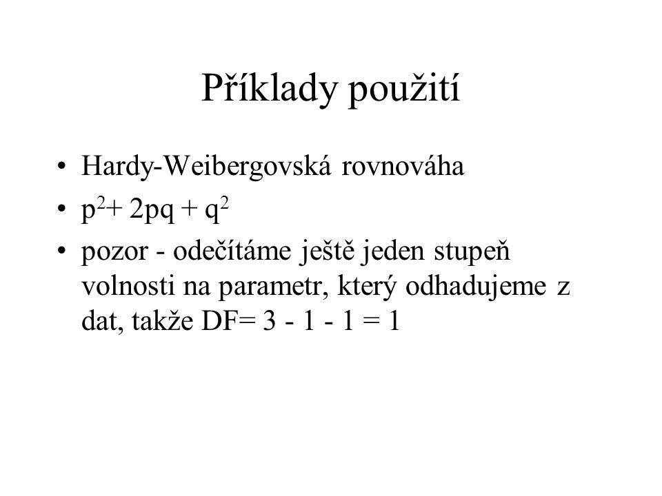 Příklady použití Hardy-Weibergovská rovnováha p 2 + 2pq + q 2 pozor - odečítáme ještě jeden stupeň volnosti na parametr, který odhadujeme z dat, takže