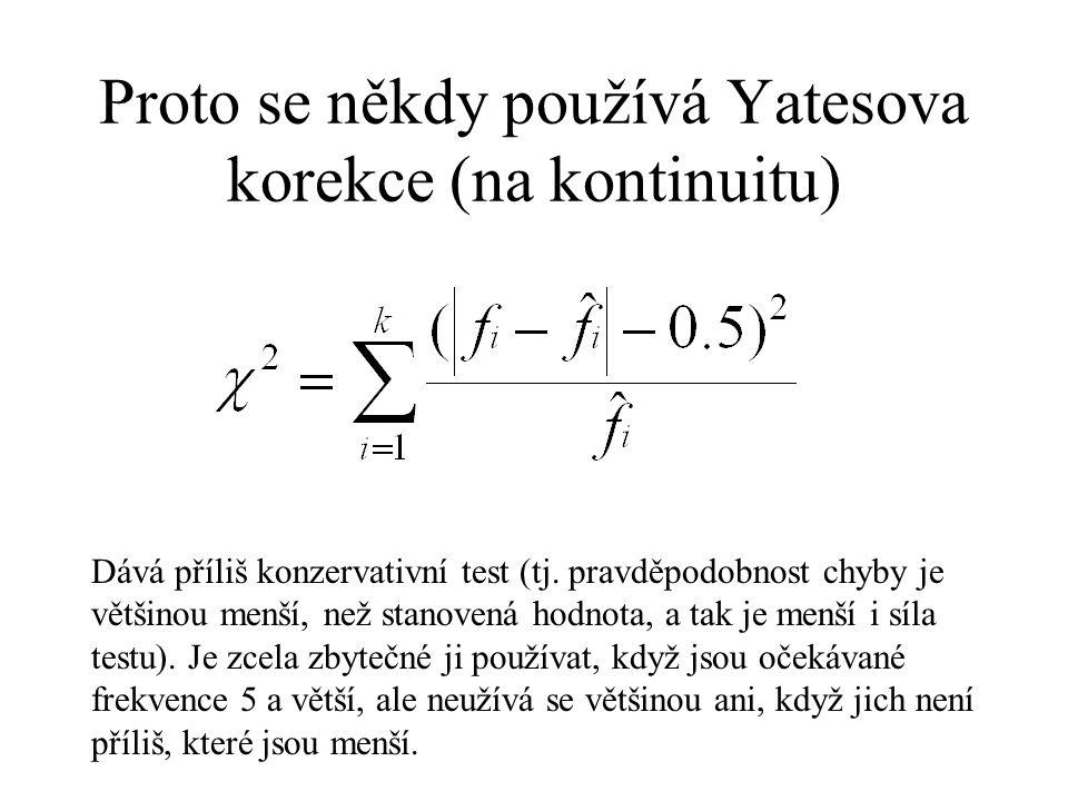 Proto se někdy používá Yatesova korekce (na kontinuitu) Dává příliš konzervativní test (tj. pravděpodobnost chyby je většinou menší, než stanovená hod