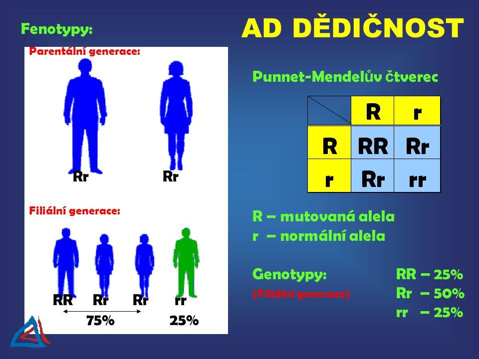 Rr RRrr Punnet-Mendel ů v č tverec R – mutovaná alela r – normální alela Genotypy:RR – 25% Rr – 50% rr – 25% Fenotypy: Parentální generace: Filiální generace: 75%25% (Filiální generace) AD DĚDIČNOST