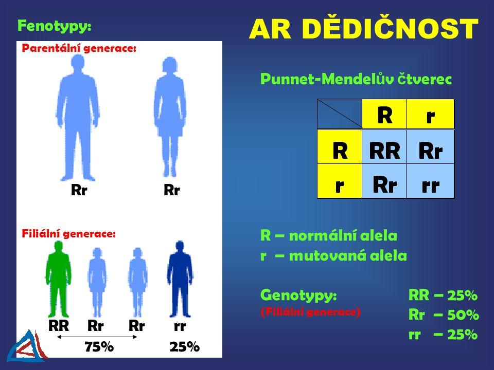 Punnet-Mendel ů v č tverec R – normální alela r – mutovaná alela Genotypy:RR – 25% Rr – 50% rr – 25% Fenotypy: (Filiální generace) Parentální generace: Rr Filiální generace: RRRr 75% Rr rr 25% AR DĚDIČNOST