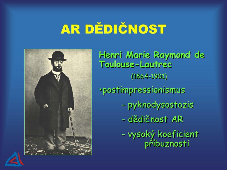 Henri Marie Raymond de Toulouse-Lautrec (1864-1901) postimpressionismus - pyknodysostozis - dědičnost AR - vysoký koeficient příbuznosti Henri Marie Raymond de Toulouse-Lautrec (1864-1901) postimpressionismus - pyknodysostozis - dědičnost AR - vysoký koeficient příbuznosti AR DĚDIČNOST