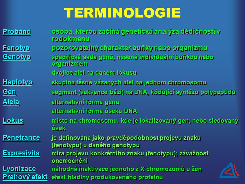 TERMINOLOGIE Probandosoba, kterou začíná genetická analýza dědičnosti v rodokmenu Fenotyppozorovatelný charakter buňky nebo organizmu Genotyp specific