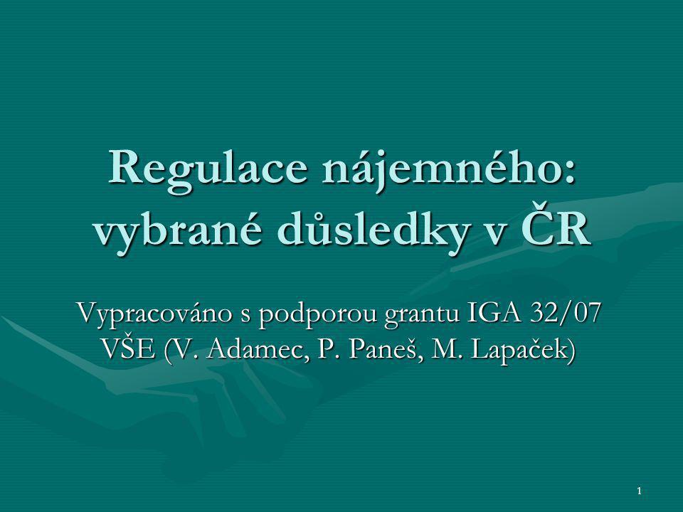 1 Regulace nájemného: vybrané důsledky v ČR Vypracováno s podporou grantu IGA 32/07 VŠE (V. Adamec, P. Paneš, M. Lapaček)
