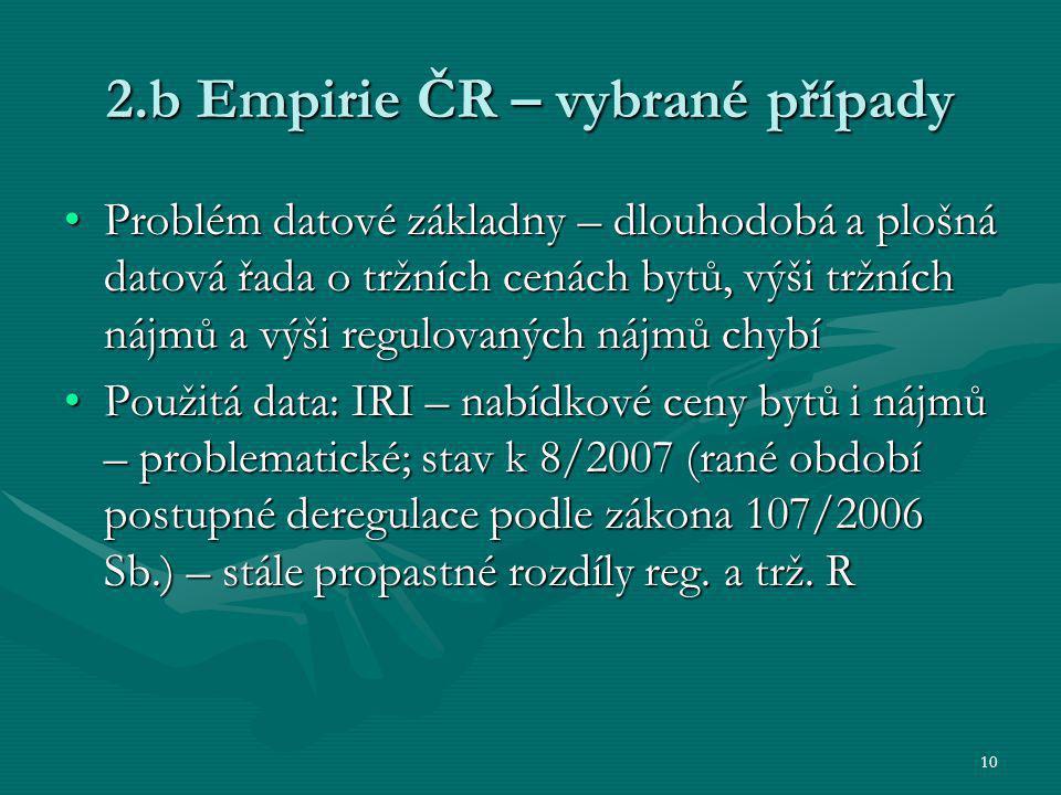 10 2.b Empirie ČR – vybrané případy Problém datové základny – dlouhodobá a plošná datová řada o tržních cenách bytů, výši tržních nájmů a výši regulov