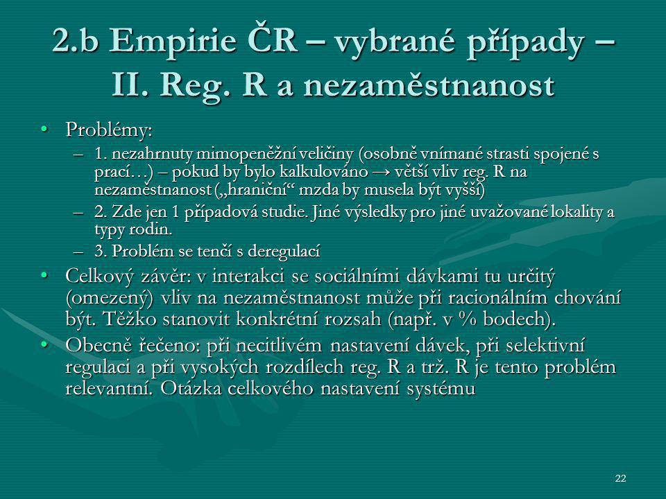 22 2.b Empirie ČR – vybrané případy – II. Reg. R a nezaměstnanost Problémy:Problémy: –1. nezahrnuty mimopeněžní veličiny (osobně vnímané strasti spoje