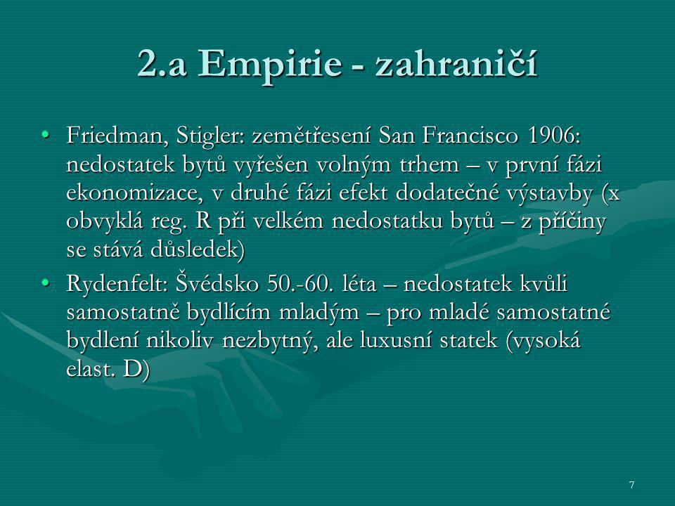 7 2.a Empirie - zahraničí Friedman, Stigler: zemětřesení San Francisco 1906: nedostatek bytů vyřešen volným trhem – v první fázi ekonomizace, v druhé
