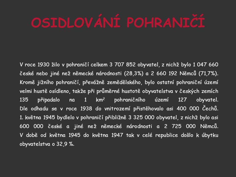 OSIDLOVÁNÍ POHRANIČÍ V roce 1930 žilo v pohraničí celkem 3 707 852 obyvatel, z nichž bylo 1 047 660 české nebo jiné než německé národnosti (28,3%) a 2 660 192 Němců (71,7%).