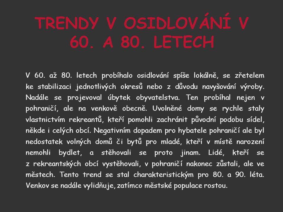 TRENDY V OSIDLOVÁNÍ V 60. A 80. LETECH V 60. až 80.