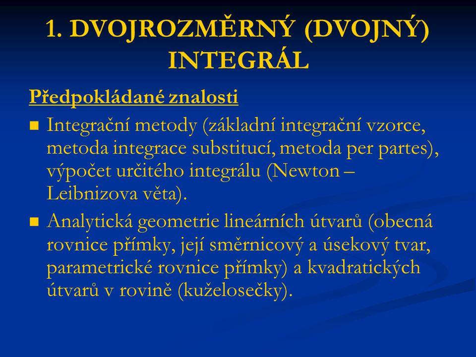 1. DVOJROZMĚRNÝ (DVOJNÝ) INTEGRÁL Předpokládané znalosti Integrační metody (základní integrační vzorce, metoda integrace substitucí, metoda per partes
