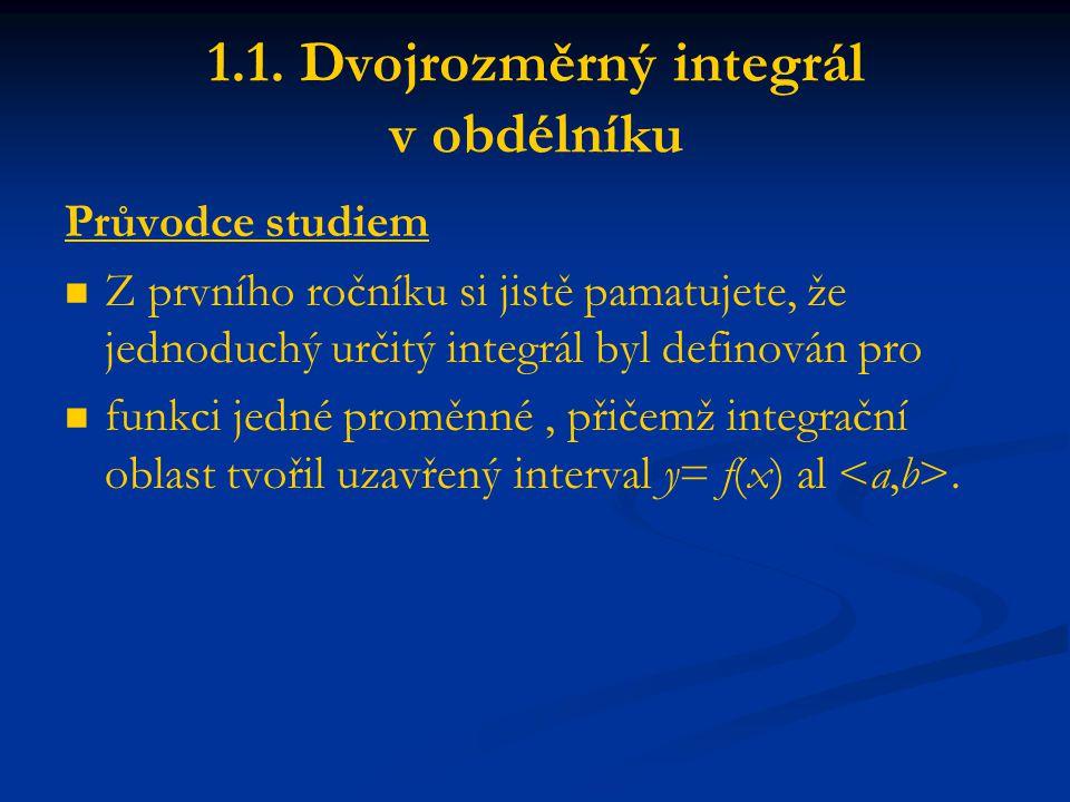 1.1. Dvojrozměrný integrál v obdélníku Průvodce studiem Z prvního ročníku si jistě pamatujete, že jednoduchý určitý integrál byl definován pro funkci