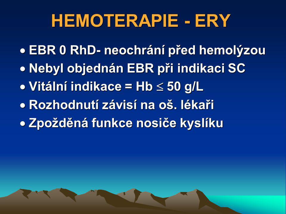 HEMOTERAPIE - ERY  EBR 0 RhD- neochrání před hemolýzou  Nebyl objednán EBR při indikaci SC  Vitální indikace = Hb  50 g/L  Rozhodnutí závisí na oš.