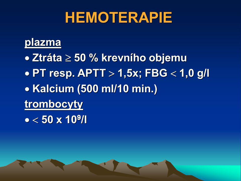 HEMOTERAPIE plazma  Ztráta  50 % krevního objemu  PT resp.
