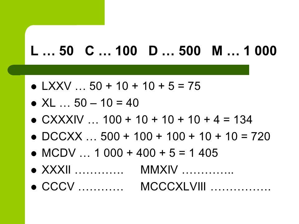 L … 50 C … 100 D … 500 M … 1 000 LXXV … 50 + 10 + 10 + 5 = 75 XL … 50 – 10 = 40 CXXXIV … 100 + 10 + 10 + 10 + 4 = 134 DCCXX … 500 + 100 + 100 + 10 + 1